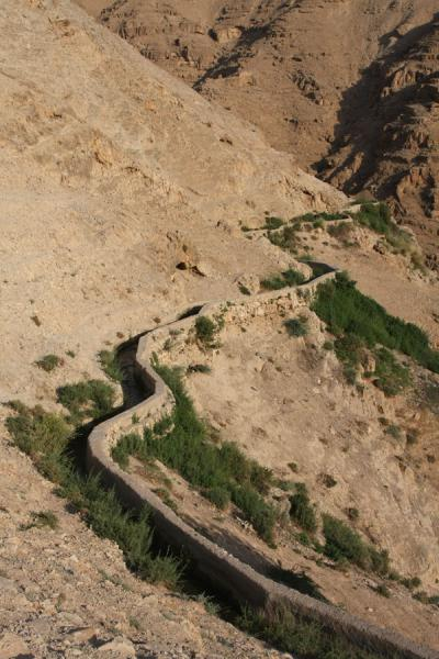 Irrigation in a wadi: aqueduct leading through the canyon | Wadi Qelt | Palestinian Territories