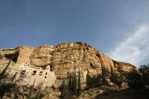 Picture of Wadi Qelt (Palestinian Territories): St. George Monastery, trees, and cliffs, seen from below
