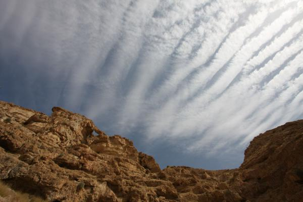 Looking up the steep cliffs of Wadi Qelt | Wadi Qelt | Palestina