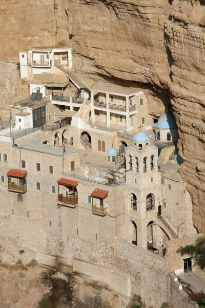 Picture of Wadi Qelt (Palestinian Territories): Greek Orthodox St. George Monastery hacked out in the cliffs of Wadi Qelt