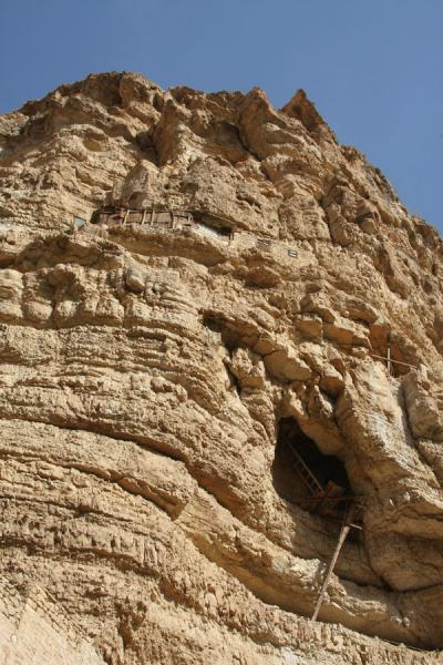 Looking up the steep cliffs at St. George's Monastery | Wadi Qelt | Palestinian Territories