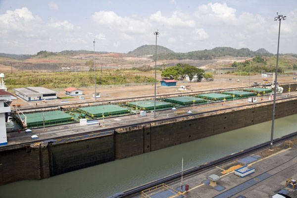 One ship waiting for the lock to open at Miraflores | Miraflores Locks | Panama