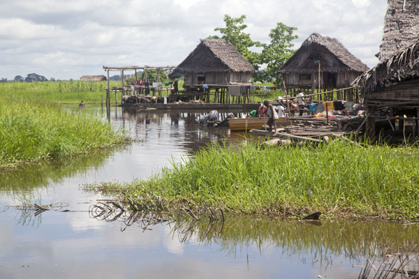 Foto van Houses on stilts in Angoram - Papoea Nieuw Guinea - Oceanië