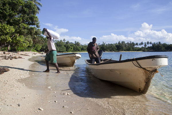 Picture of Betel nut run Angoram to Madang (Papua New Guinea): Carrying betel nut bags from the boat to the shade at Mandi bay