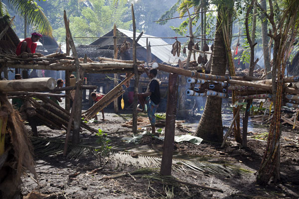 Stands with yams in the village | Gumilababa Festivities | Papua New Guinea