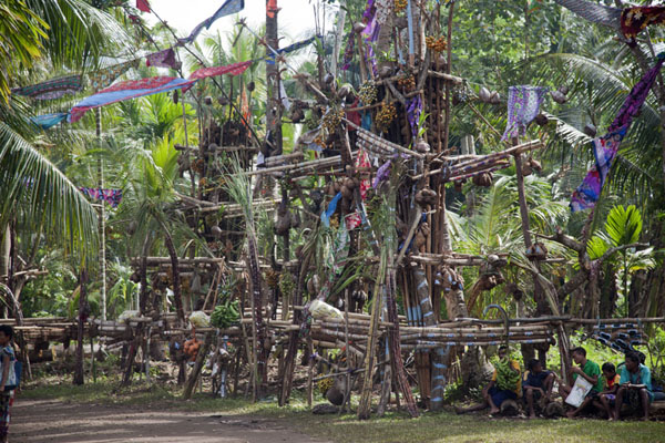 Tall, slender towers of yam piled up for the festivities | Gumilababa Festivities | Papua New Guinea