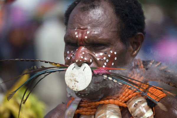 Man from the Simbai group with colourful feather display | Madang festival | Papoea Nieuw Guinea