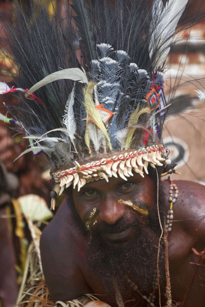Picture of Man with feathers on his head from the Boroi singsing groupMadang - Papua New Guinea