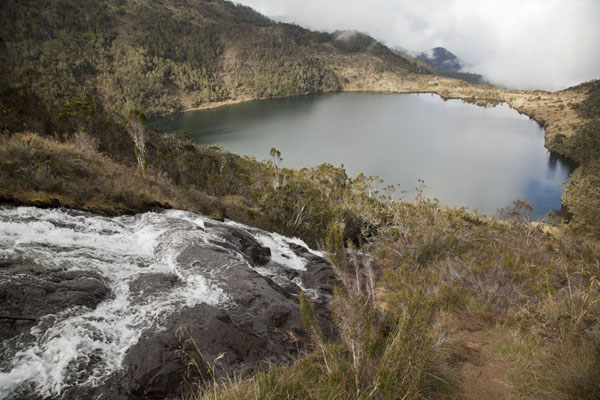 View of the first lake, Pinde, with part of the waterfall in the foreground | Mount Wilhelm | Papua New Guinea