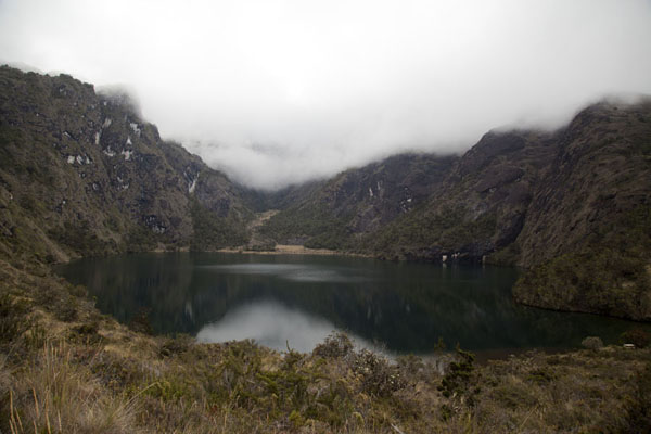 The second lake with cloud-covered mountains | Mount Wilhelm | Papua New Guinea