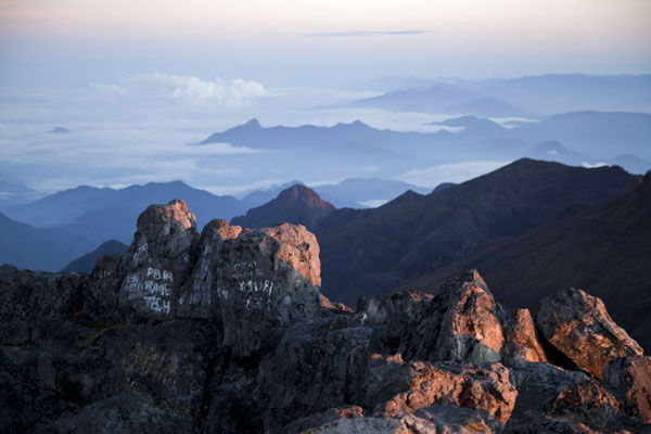 Picture of The first sunlight of the day seen from the top of Mount Wilhelm - Papua New Guinea - Oceania