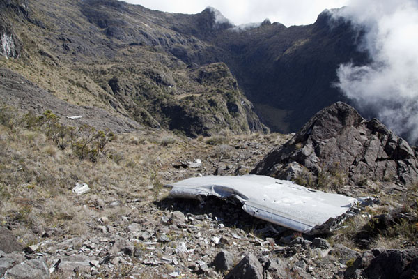 Wreckage of a US reconnaissance plane that crashed into Mount Wilhelm in 1944 | Mount Wilhelm | Papua New Guinea
