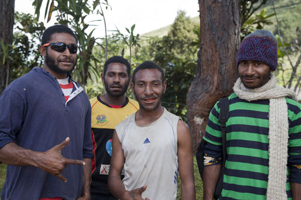 Picture of Playing cool for the picture: youngsters in Keglsugl - Papua New Guinea - Oceania
