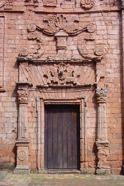 Decorated door in church | Trinidad | le Paraguay