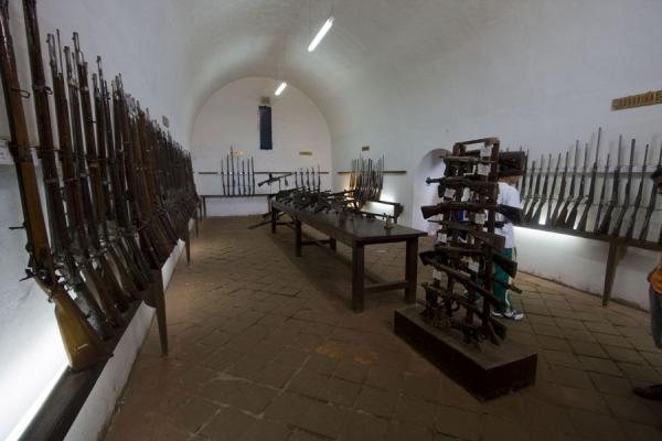 Part of the Oploteca, with various weapons from various parts of the world | Fortaleza Real Felipe | Peru