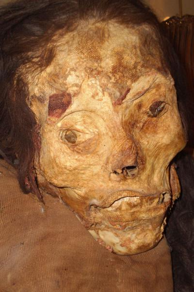 Face of mummy found in the pyramid of Huallamarca | Huaca Huallamarca | Peru