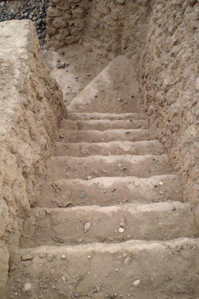 Stairs leading down the pyramid | Huaca Huallamarca | Peru