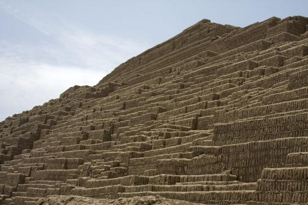 Looking up the pyramid from below | Huaca Pucllana | Peru