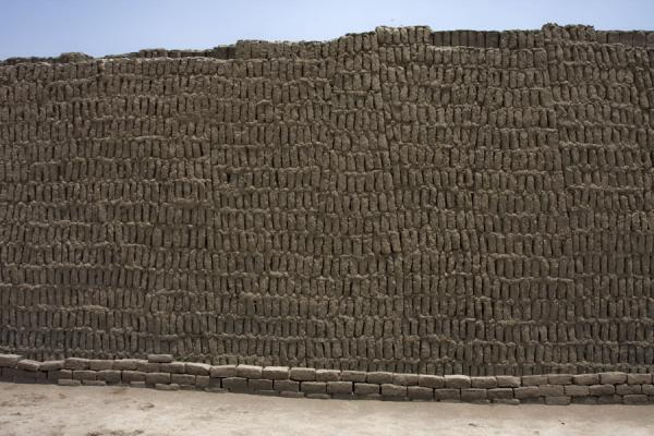 The highest wall of Huaca Pucllana: note the vertical adobe bricks | Huaca Pucllana | Peru