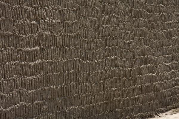 Picture of Adobe bricks in the highest wall of Huaca Pucllana
