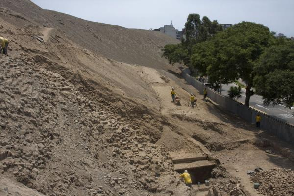 Picture of Huaca Pucllana (Peru): Working on the ruins of Huaca Pucllana
