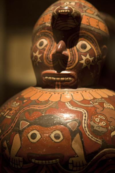 Close-up of colourful ceramics of the Nazca period | Larco Museum | Peru