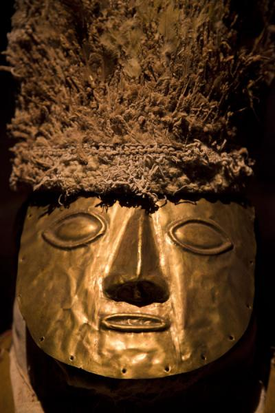 Gold mask with feather hat | Larco Museum | Peru