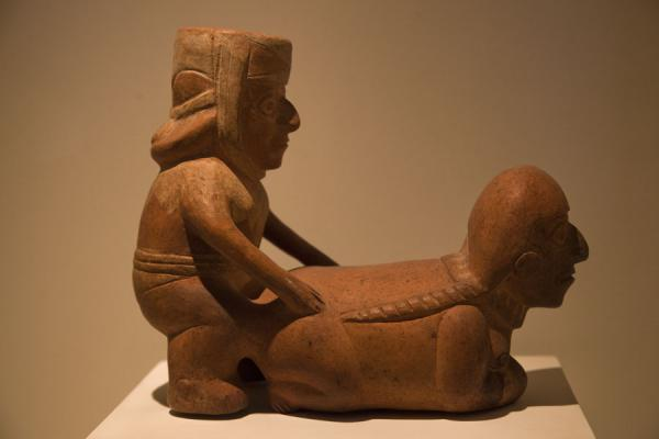 Couple having sex in one of the many pieces of erotic ceramics | Larco Museum | Peru