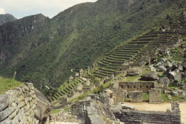 Foto di Ruins of Machu Picchu clinging to the steep mountainsMachu Picchu - Peru
