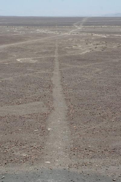 Picture of Nazca lines (Peru): Nazca line seen from close, looking into the empty desert