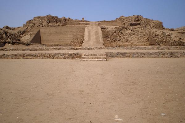 Pyramid with access ramp in the ruins of Pachacamac | Pachacamac | Peru