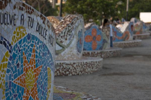 Picture of Intensely coloured artwork with broken tiles in the Parque del Amor