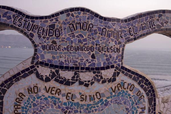 Picture of Parque del Amor (Peru): View over the Pacific through a bench in the Parque del Amor