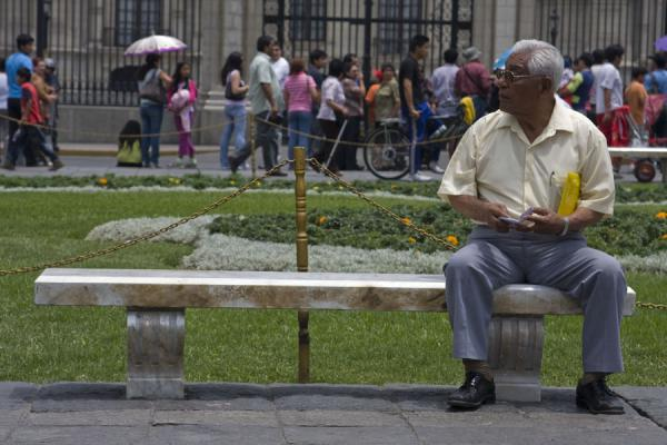 Old man on a bench of Plaza de Armas | Plaza de Armas | Peru