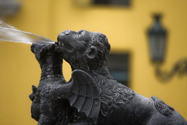Close-up of winged animal on the fountain of the Plaza de Armas | Plaza de Armas | Peru