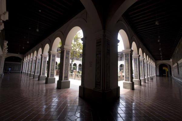 Picture of Columns with tiles around one of the courtyards of the monastery