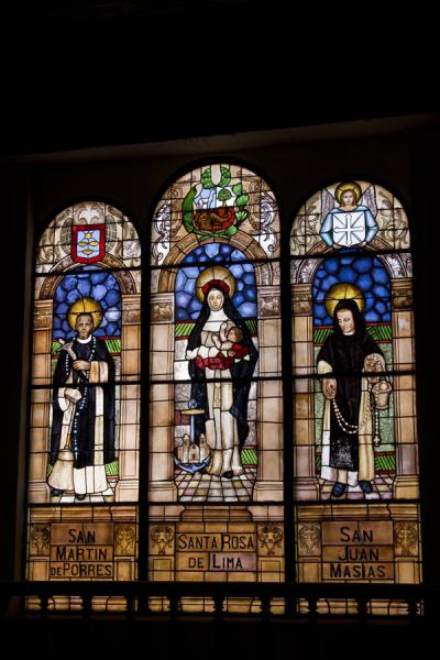 Stained glass window in the convent of Santo Domingo with the three saints buried here | Santo Domingo church and monastery | Peru
