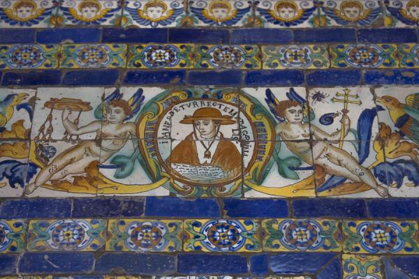 Foto de Detail of a 17th century tiled wall in the conventLima - Perú