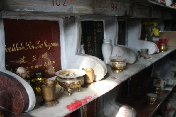 Picture of Chinese cemetery (Philippines): Cremated persons have a special resting place where they are given food and drinks