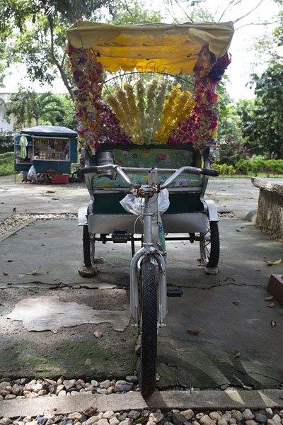 Foto van Tricycle parked on Plaza CuartelPuerto Princesa - Filippijnen