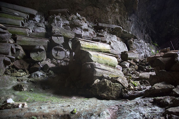 Picture of A stack of coffins in Lumiang burial cave - Philippines - Asia
