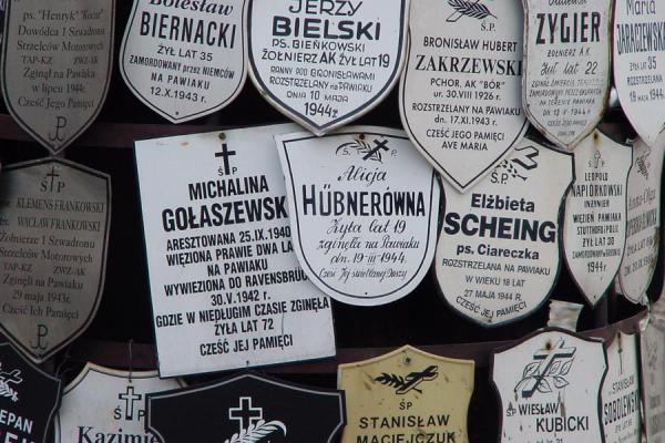 Close-up of commemorative plaques | Pawiak Prison Museum | Poland
