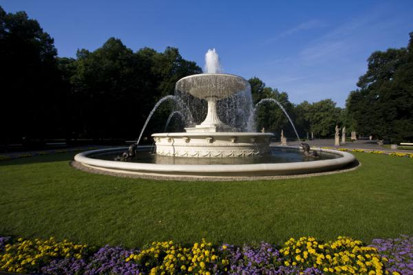 Picture of Poland (Fountain surrounded by grass and flowers)