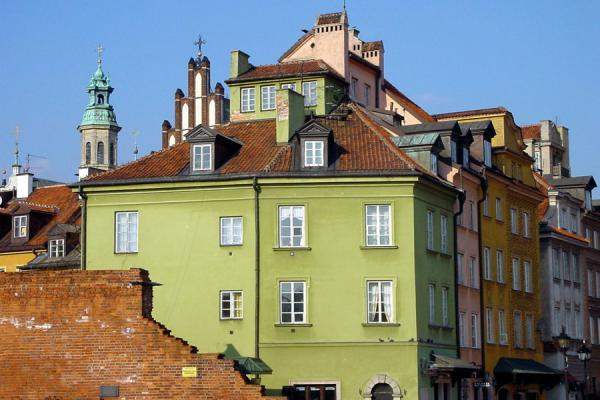 Foto van Detail of the old houses of the Old Town of WarsawWarschau - Polen