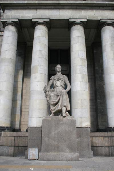 Columns and statue adorning the Palace of Culture | Palace of Culture | Poland