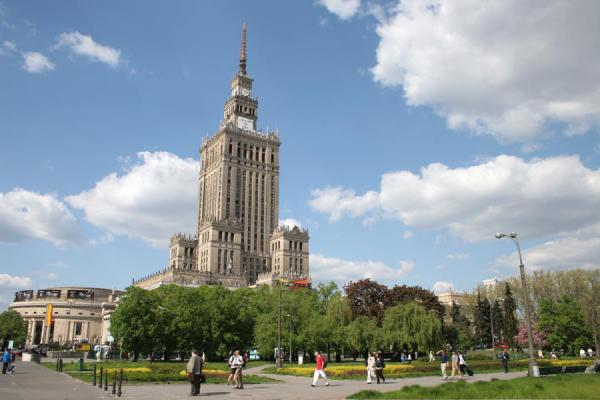 The imposing Palace of Culture defining the skyline of Warsaw | Palace of Culture | Poland