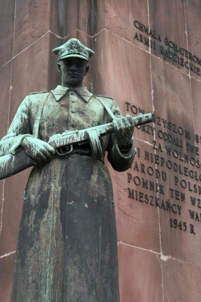 Statue of Polish soldier at War Monument on Wilenski Square | Praga district | Poland