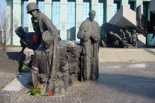 Picture of Warsaw uprising monument (Poland): Part of the monument: soldier entering a sewer to fight the Germans