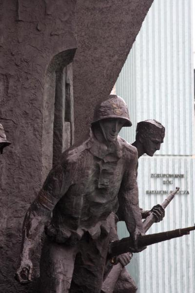Picture of Warsaw uprising monument (Poland): Two Polish soldiers: close-up of the monument
