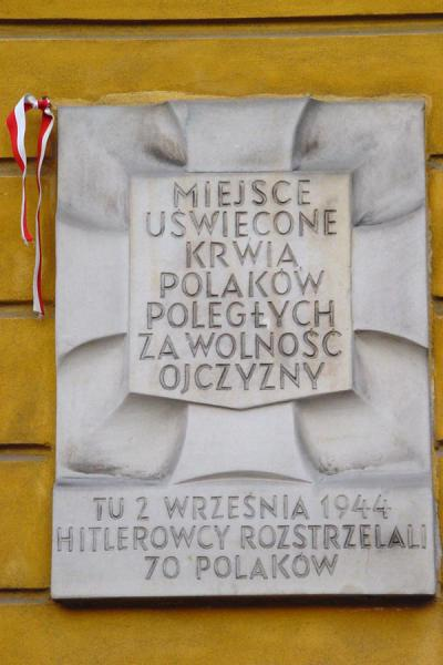 Here, Hitler is mentioned in person (Blood of Polish Man's who fight for Freedom sign this place. Here 02.09.1944 German soldiers killed 70 polish soldiers.) | Warsaw War memorial stones | Poland